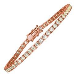 7.00 Carat Natural Diamond Tennis Bracelet G SI 14 Karat Rose Gold