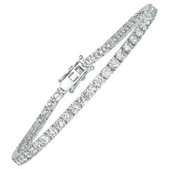 7.00 Carat Natural Diamond Tennis Bracelet G SI 14 Karat White Gold