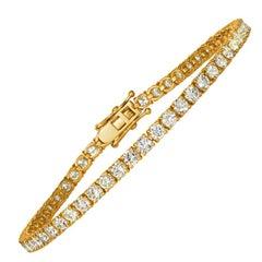 7.00 Carat Natural Diamond Tennis Bracelet G SI 14 Karat Yellow Gold