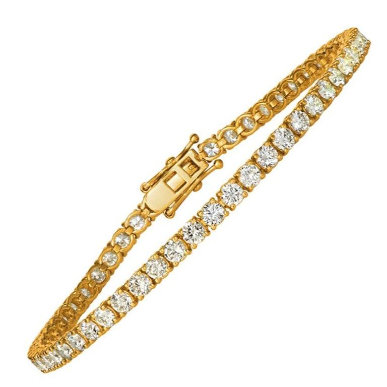 7.00 Carat Natural Diamond Tennis Bracelet G SI 14 Karat Yellow Gold For Sale