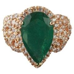 7.00 Carat Natural Emerald and Diamond 14 Karat Solid Rose Gold Ring