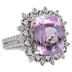 7.00 Carat Natural Kunzite and Diamond 14 Karat Solid White Gold Ring