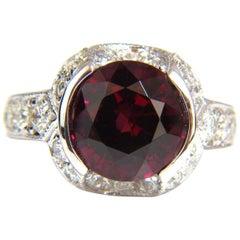 7.00 Carat Natural Round Crimson Red Hessonite Garnet Diamonds Ring 14 Karat