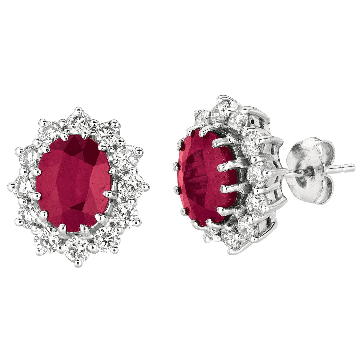 7.00 Carat Natural Ruby and Diamond Oval Earrings 14 Karat White Gold