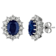 7.00 Carat Natural Sapphire and Diamond Oval Earrings G SI 14 Karat White Gold
