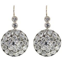 7.00 Carat Old Diamond Cluster Antique Earrings