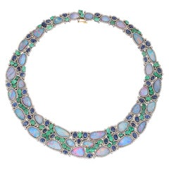 70.0 Carat Opal Emerald Diamond Statement Necklace