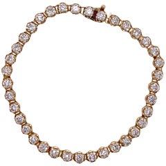 7.00 Carat Round Brilliant Cut Diamond Yellow Gold Tennis Line Bracelet