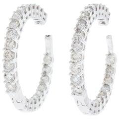 7.00 Carat Total Weight Diamond Inside-Outside Hoop Earrings in 14 Karat Gold