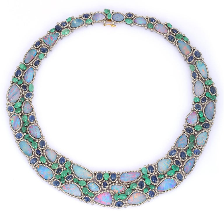 Mixed Cut 70.0 Carat Opal Emerald Diamond Statement Necklace For Sale