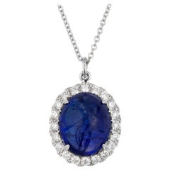 7.00 Tanzanite Diamond Halo White Gold Pendant Necklace