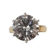 7.01 Carat Brilliant Cut Diamond in a 14k Gold Solitaire