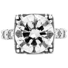 7.01 Carat EGL Certified Round Diamond 18 Karat White Gold Engagement Ring