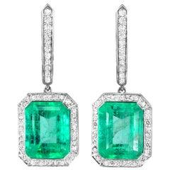7.01 Ct no-oil Russian Emerald White Diamond 18 Karat White Gold Drop Earrings