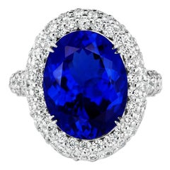 8.75 Carat Tanzanite and Diamond Ring
