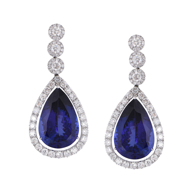 Laviere 70.12 Carat Tanzanite and Diamond Earrings