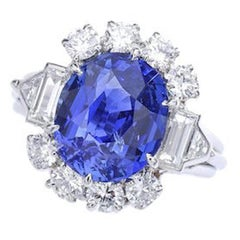7.02 Carat Natural Sapphire French Diamond Platinum Ring 1940s
