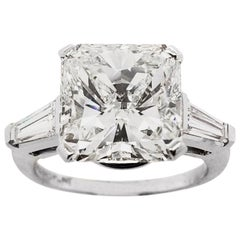 7.02 Carat Radiant Cut Diamond Engagement Ring in Platinum, IGI