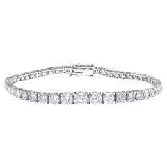 7.02 Carat Round Cut Diamond Tennis Bracelet in 14K White Gold