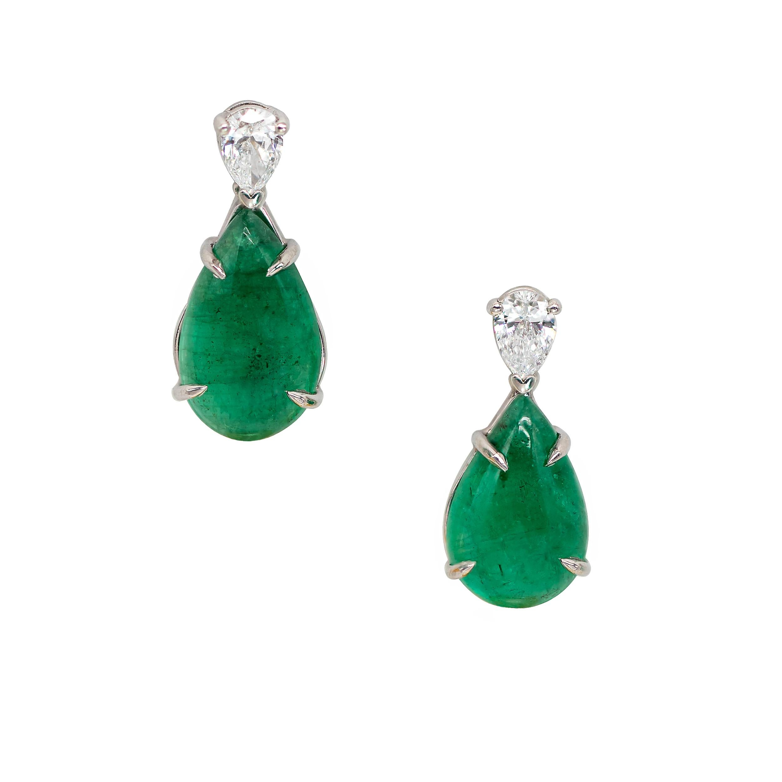7.02 Carats Pear Shaped Emerald and Pear Shaped Diamond Earrings in Platinum