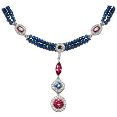 7.03 Carat Blue Sapphire Garnet Pink Tourmaline Diamond Necklace Natalie Barney