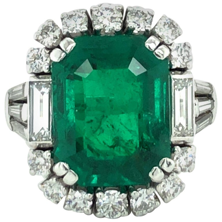 7.03 Carat Colombian Emerald and Diamond Ring in 18 Karat White Gold For Sale