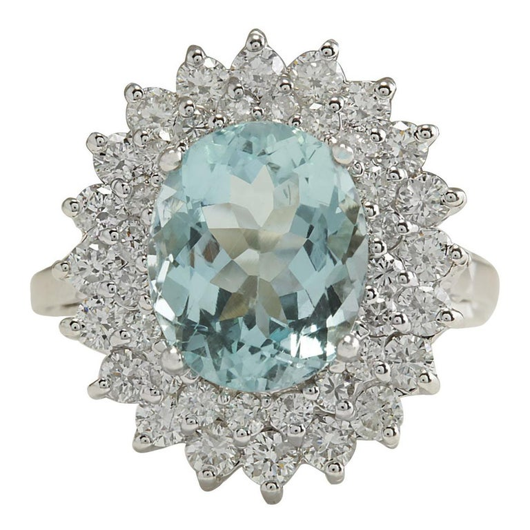 7.03 Carat Natural Aquamarine 18 Karat White Gold Diamond Ring For Sale