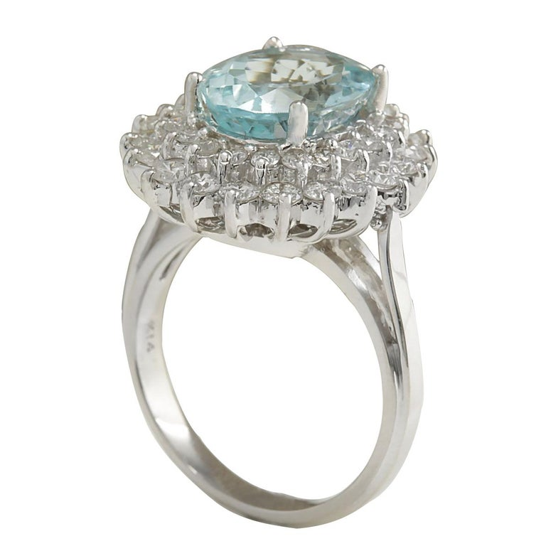 7.03 Carat Natural Aquamarine 18 Karat White Gold Diamond Ring In New Condition For Sale In Los Angeles, CA