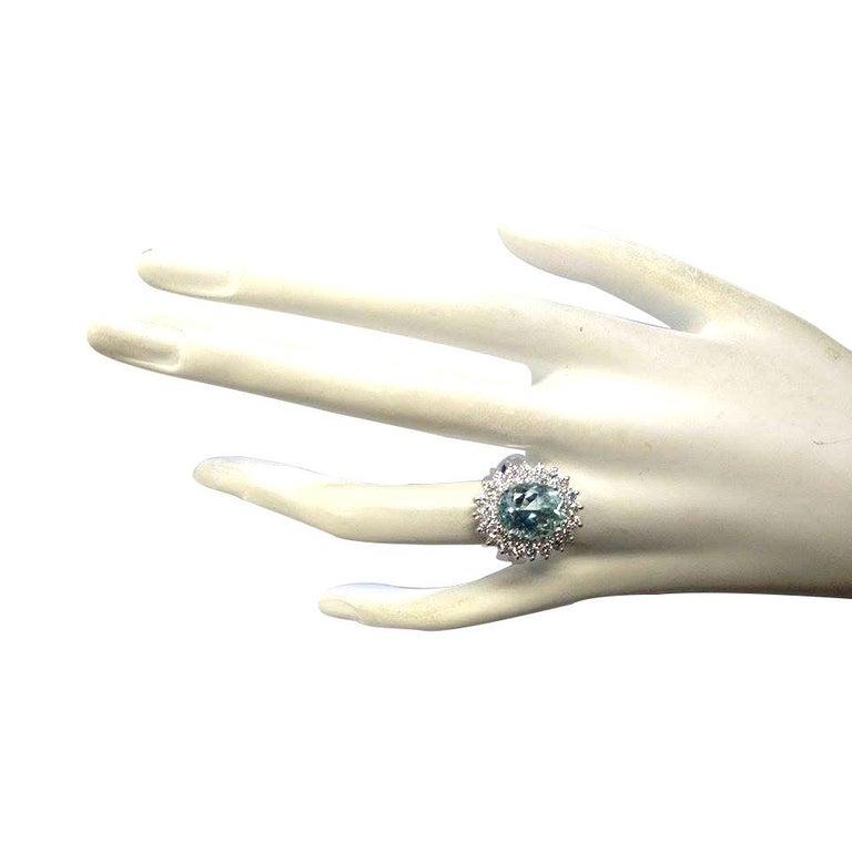 Women's 7.03 Carat Natural Aquamarine 18 Karat White Gold Diamond Ring For Sale