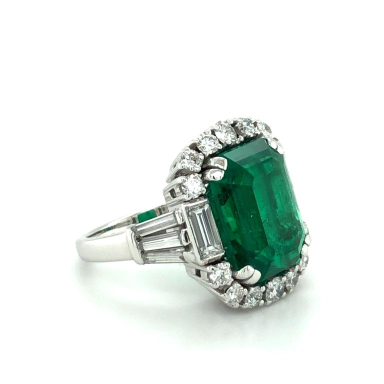 Emerald Cut 7.03 Carat Colombian Emerald and Diamond Ring in 18 Karat White Gold For Sale
