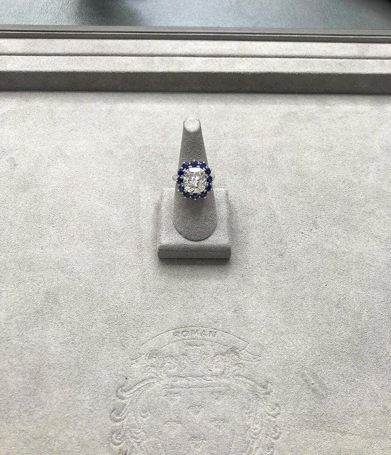 Roman Malakov GIA 7.04 Carat Cushion Cut Diamond and Blue Sapphire Halo Ring For Sale 3
