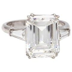 7.04 Carat G VS2 Emerald Cut Diamond Ring, GIA Certified