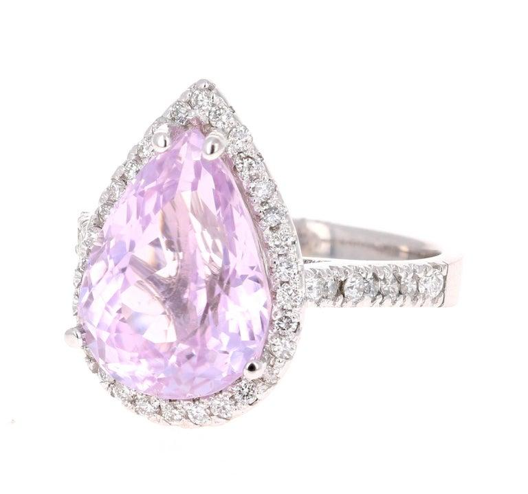 Modern 7.04 Carat Kunzite Diamond White Gold Engagement Ring For Sale