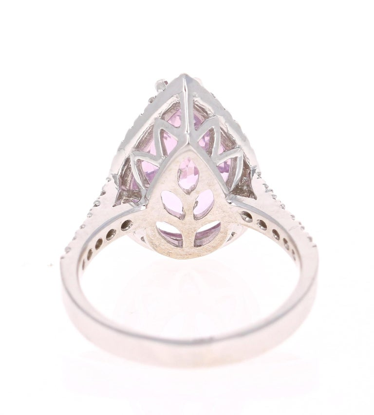 Pear Cut 7.04 Carat Kunzite Diamond White Gold Engagement Ring For Sale