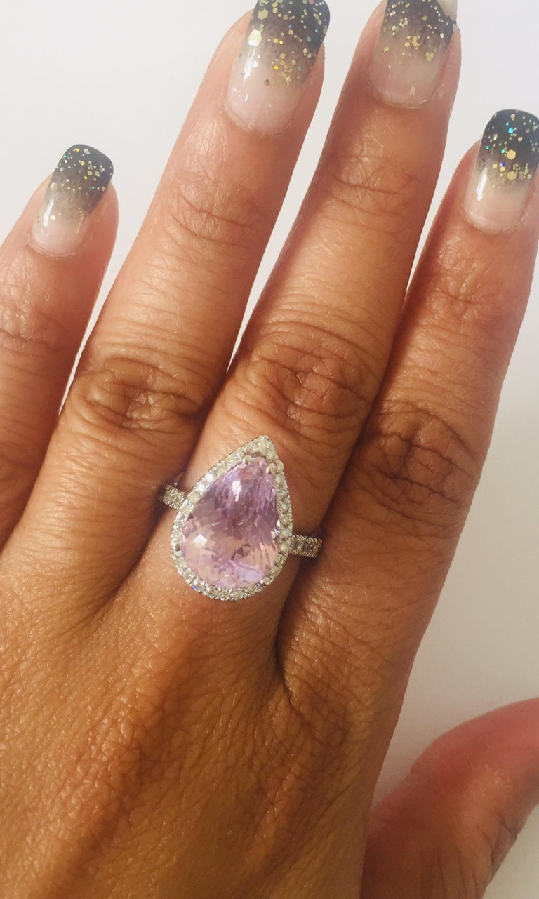 7.04 Carat Kunzite Diamond White Gold Engagement Ring In New Condition For Sale In San Dimas, CA