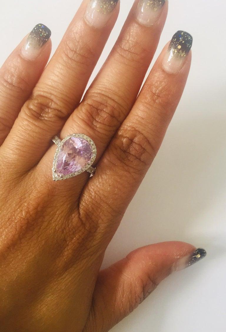 Women's 7.04 Carat Kunzite Diamond White Gold Engagement Ring For Sale
