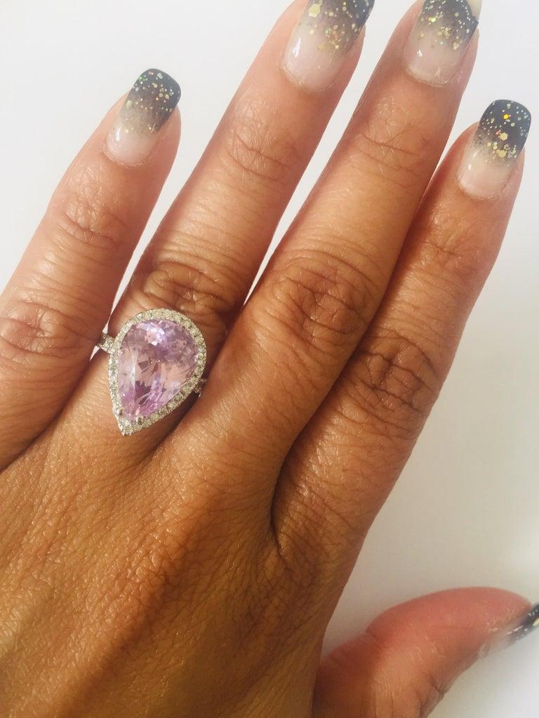 7.04 Carat Kunzite Diamond White Gold Engagement Ring For Sale 1