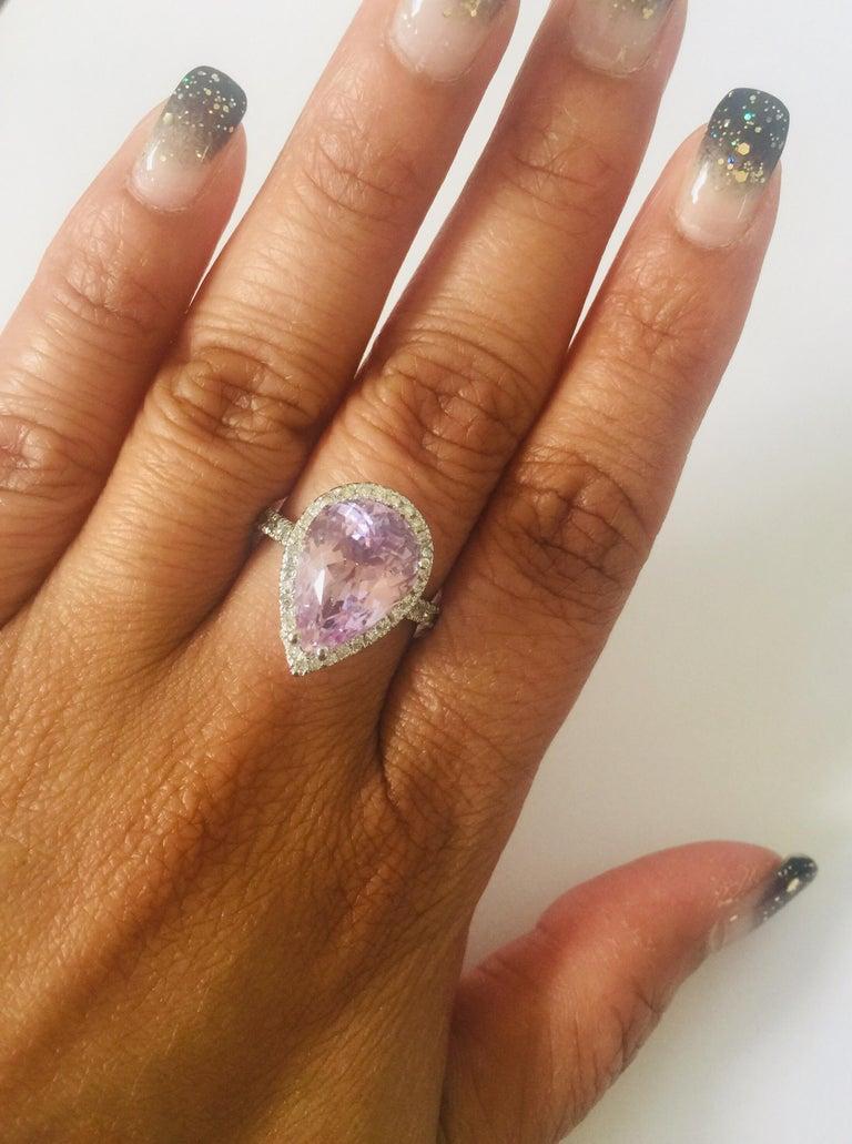 7.04 Carat Kunzite Diamond White Gold Engagement Ring For Sale 2