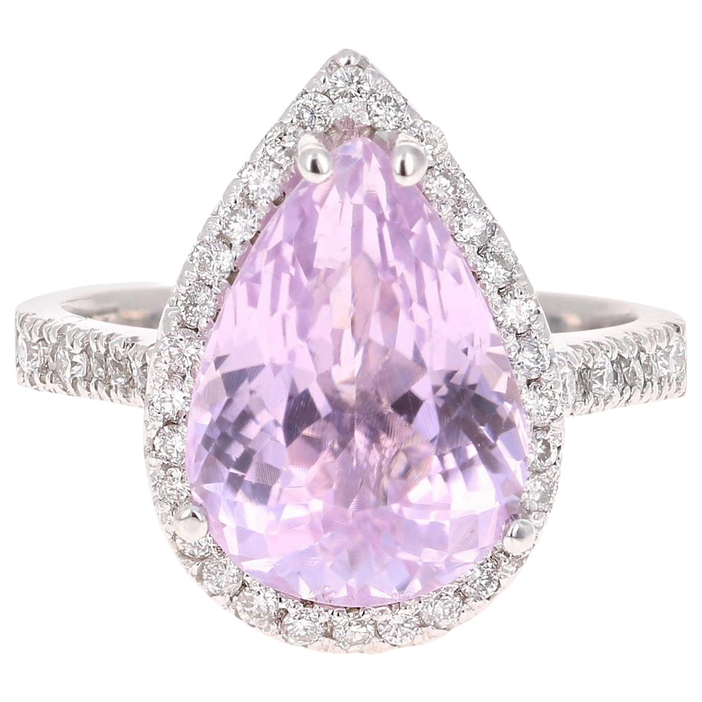 7.04 Carat Kunzite Diamond White Gold Engagement Ring