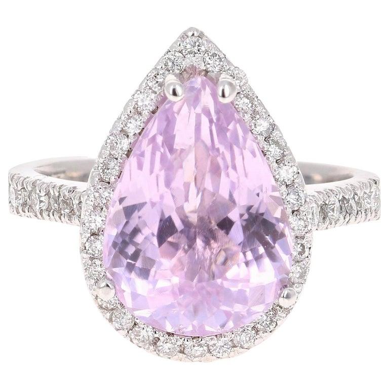 7.04 Carat Kunzite Diamond White Gold Engagement Ring For Sale