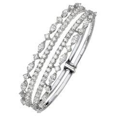 7.04 Carat Marquise and Round Diamond 18 Karat White Gold Spring Cuff Bangle