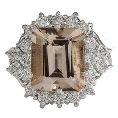 7.04 Carat Natural Morganite 18K White Gold Diamond Ring
