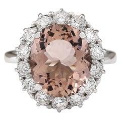 7.04 Carat Natural Morganite 18 Karat White Gold Diamond Ring