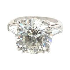 7.04 Carat Round Brilliant Diamond Ring with Taper Baguettes