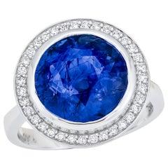 7.04 Carat Sri Lanka Sapphire GIA Certified, Unheated Ceylon Ring, Round Cut
