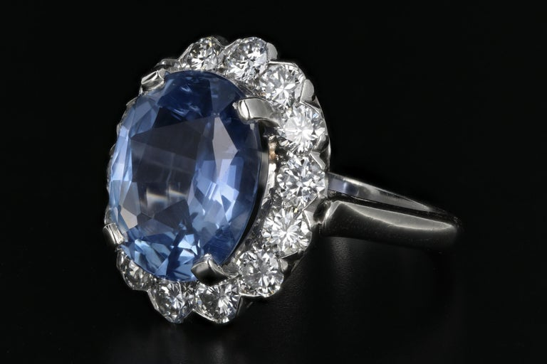 Modern 7.04 Natural No Heat Cornflower Blue Sapphire and Diamond Ring AGL Certified For Sale