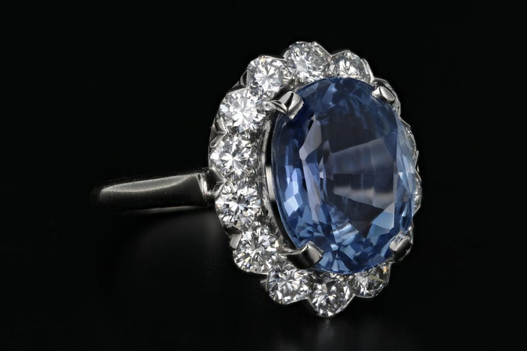 Oval Cut 7.04 Natural No Heat Cornflower Blue Sapphire and Diamond Ring AGL Certified For Sale