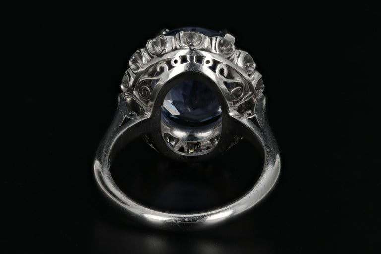 7.04 Natural No Heat Cornflower Blue Sapphire and Diamond Ring AGL Certified In Good Condition For Sale In Cape May, NJ