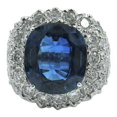 7.05 Carat Cushion Cut Sapphire and Diamond Ring
