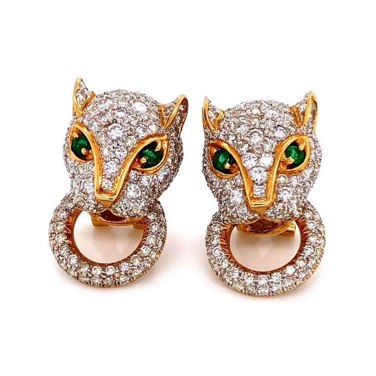 Contemporary 7.05 Carat Diamond Door Knocker Panther Gold Earrings Estate Fine Jewelry For Sale